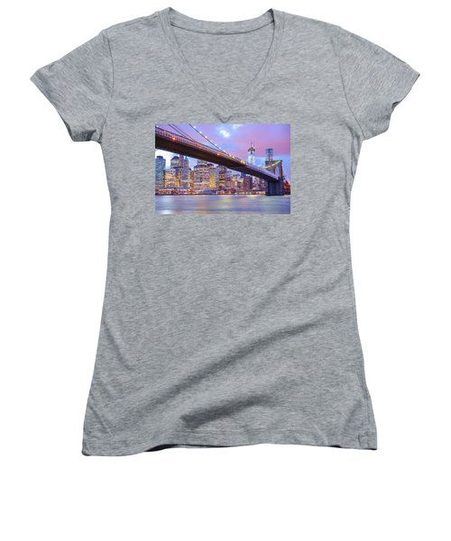 Brooklyn Bridge And New York City Skyscrapers Women's V-Neck T-Shirt