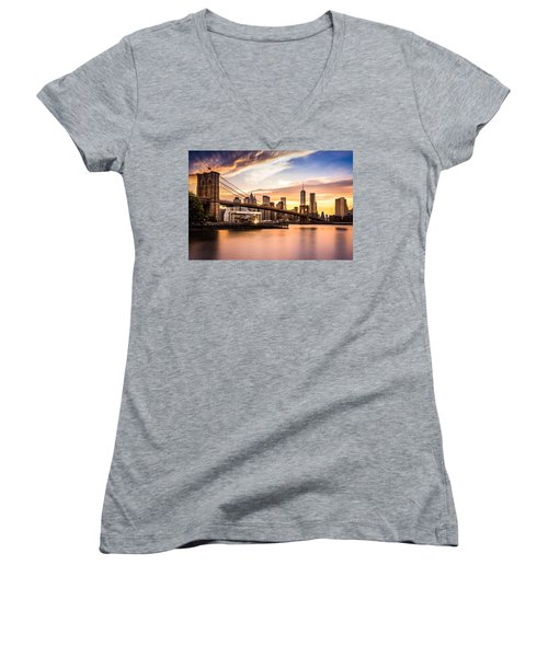 Brooklyn Bridge At Sunset  Women's V-Neck (Athletic Fit)