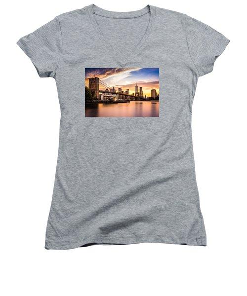 Brooklyn Bridge At Sunset  Women's V-Neck T-Shirt