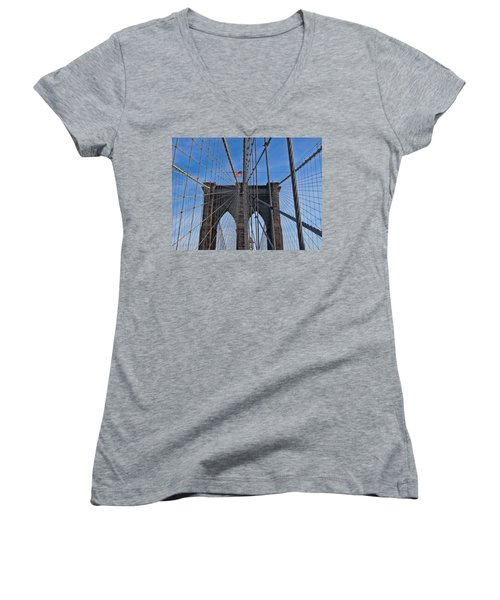 Women's V-Neck T-Shirt (Junior Cut) featuring the photograph Brooklyn Bridge by David Gleeson