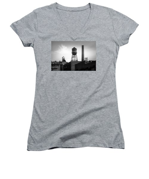 Women's V-Neck T-Shirt (Junior Cut) featuring the photograph Brooklyn Water Tower And Smokestack - Black And White Industrial Chic by Gary Heller