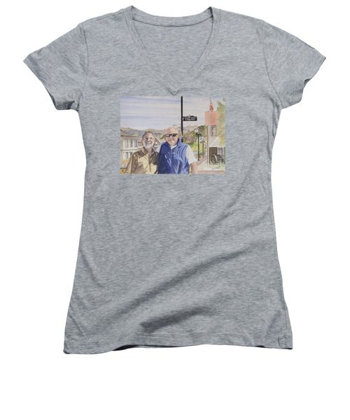 Women's V-Neck T-Shirt (Junior Cut) featuring the painting Bros by Carol Flagg