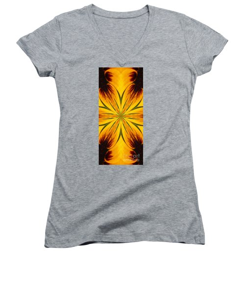 Brown And Yellow Abstract Shapes Women's V-Neck T-Shirt (Junior Cut) by Smilin Eyes  Treasures