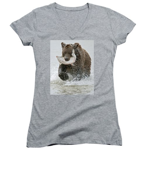 Brown Bear With Salmon Catch Women's V-Neck T-Shirt
