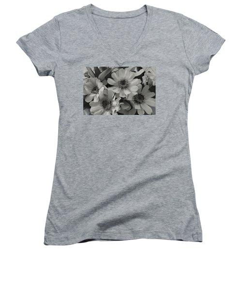 Women's V-Neck T-Shirt (Junior Cut) featuring the photograph Brown Eyed Susan Monochrome by Sandra Foster