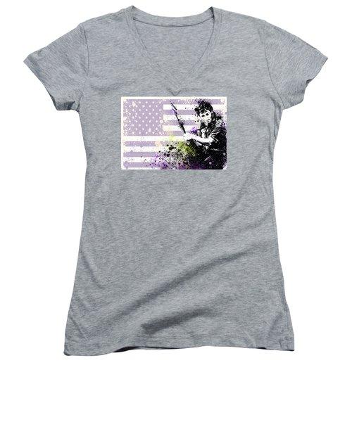 Bruce Springsteen Splats Women's V-Neck T-Shirt