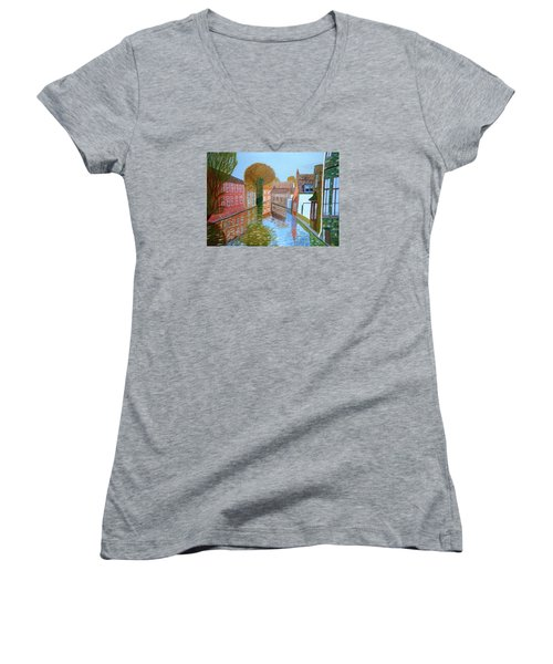 Women's V-Neck T-Shirt (Junior Cut) featuring the painting Brugge Canal by Magdalena Frohnsdorff