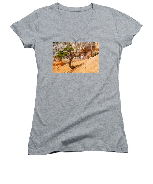 Women's V-Neck T-Shirt (Junior Cut) featuring the photograph Bryce Canyon Np by Juergen Klust