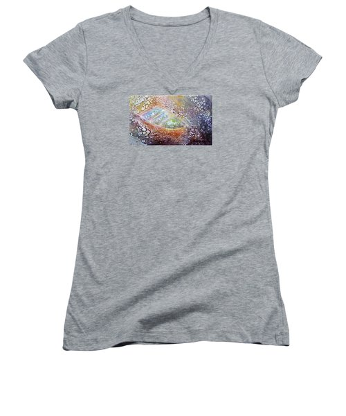 Women's V-Neck T-Shirt (Junior Cut) featuring the painting Bubble Boat by Kathleen Pio