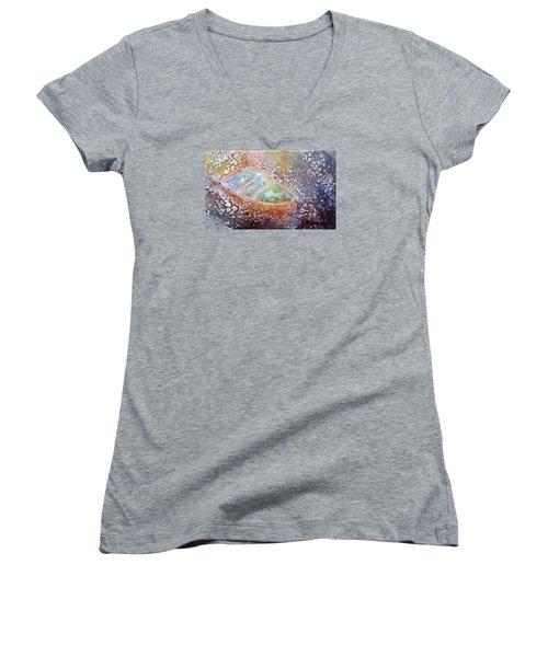 Bubble Boat Women's V-Neck T-Shirt (Junior Cut) by Kathleen Pio