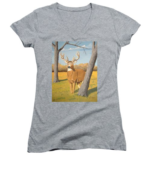 Bucky The Deer Women's V-Neck (Athletic Fit)