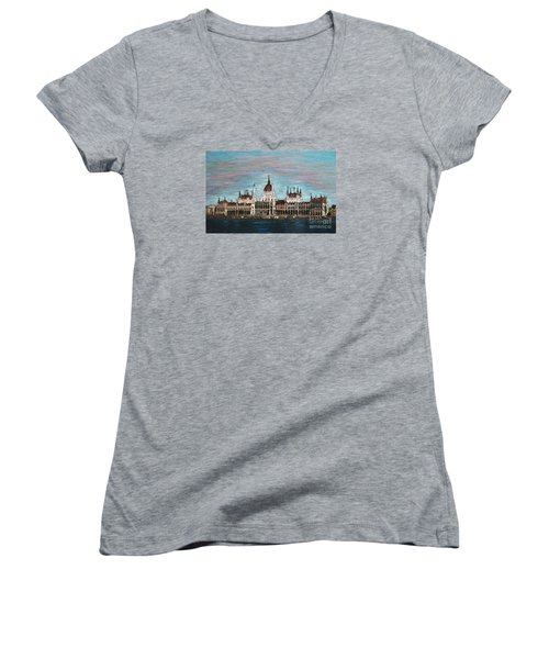 Budapest Parliament By Jasna Gopic Women's V-Neck T-Shirt (Junior Cut) by Jasna Gopic
