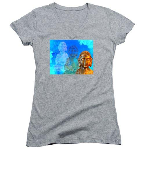 Buddha's Thoughts Women's V-Neck T-Shirt (Junior Cut) by Ginny Gaura