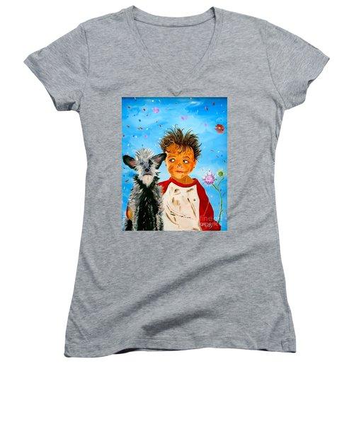 Women's V-Neck T-Shirt (Junior Cut) featuring the painting Buddies by Phyllis Kaltenbach