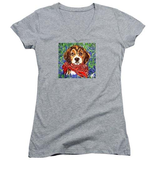 Buddy Women's V-Neck T-Shirt (Junior Cut) by Jackie Carpenter