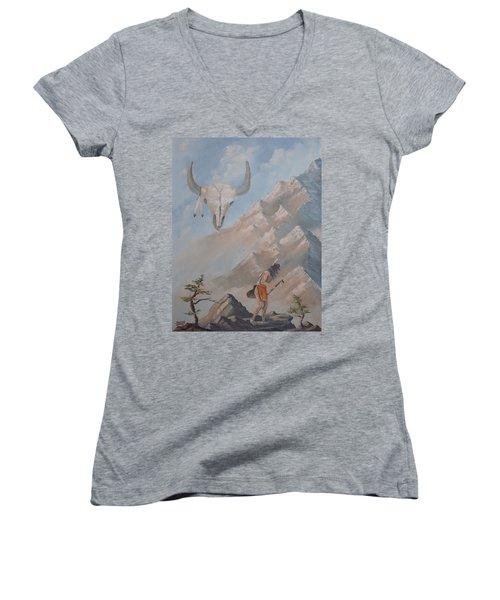 Buffalo Dancer Women's V-Neck T-Shirt (Junior Cut) by Richard Faulkner