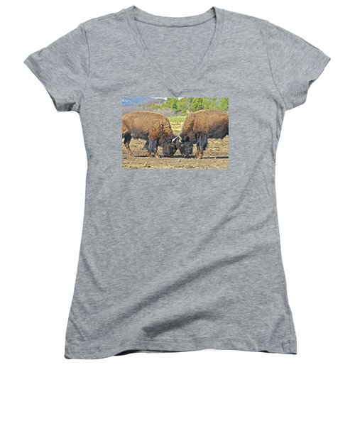 Buffaloes At Play Women's V-Neck (Athletic Fit)