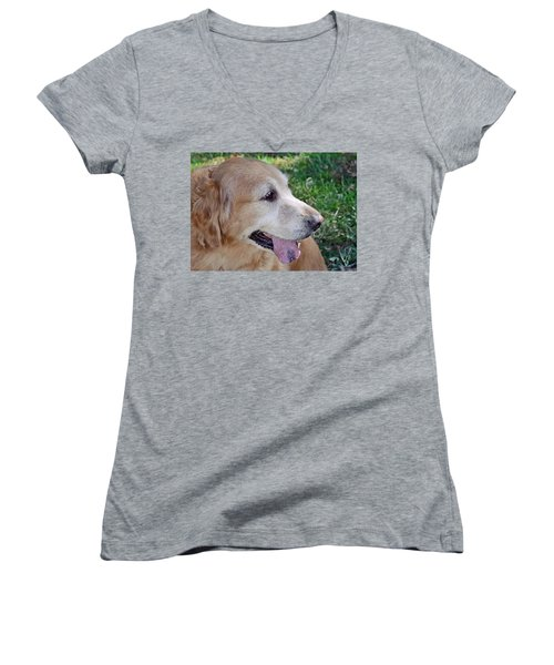 Women's V-Neck T-Shirt (Junior Cut) featuring the photograph Buffie by Lisa Phillips