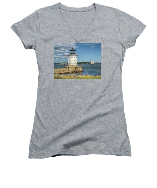 Women's V-Neck T-Shirt (Junior Cut) featuring the photograph Bug Light by Jane Luxton