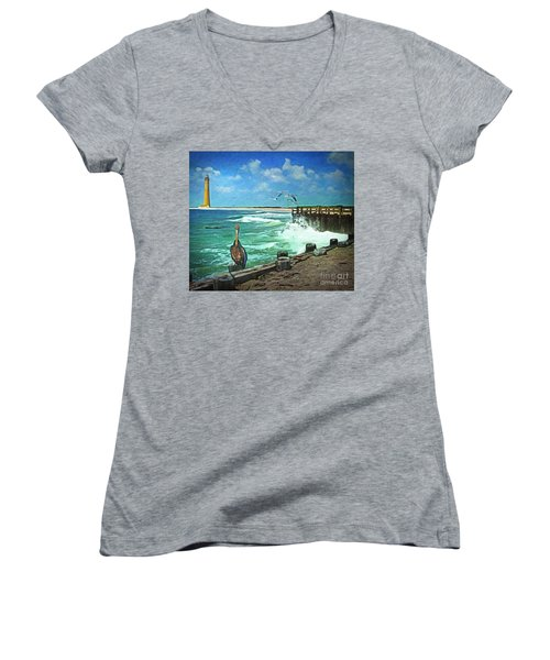 Women's V-Neck T-Shirt (Junior Cut) featuring the digital art Bulkhead At Holgate Beach by Lianne Schneider