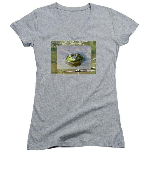 Bull Frog And Pond Women's V-Neck