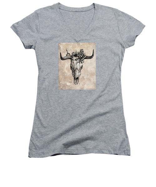 Bull Skull And Rose Women's V-Neck T-Shirt (Junior Cut) by Emerico Imre Toth
