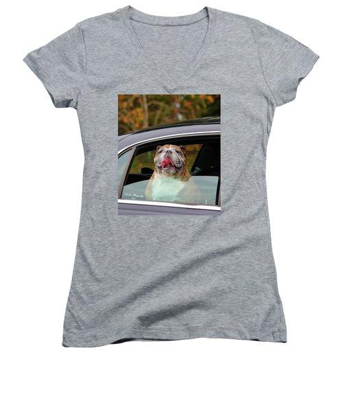 Bulldog Bliss Women's V-Neck T-Shirt (Junior Cut) by Jeanette C Landstrom