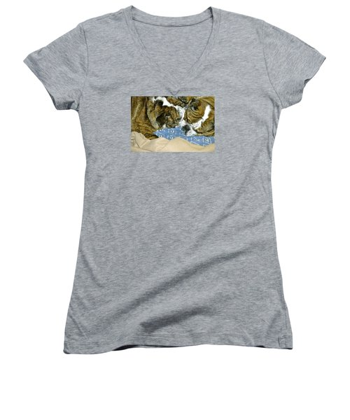 Women's V-Neck T-Shirt (Junior Cut) featuring the photograph Bulldog Love Forever  by Lehua Pekelo-Stearns