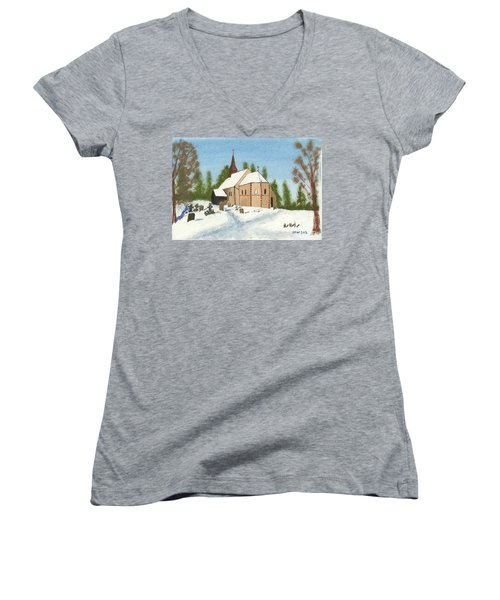 Women's V-Neck T-Shirt (Junior Cut) featuring the painting Bulley Church by John Williams