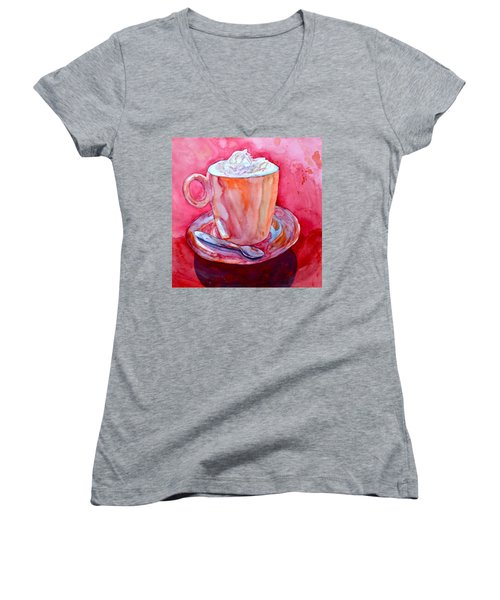 Women's V-Neck T-Shirt (Junior Cut) featuring the painting Buon Appetito by Beverley Harper Tinsley