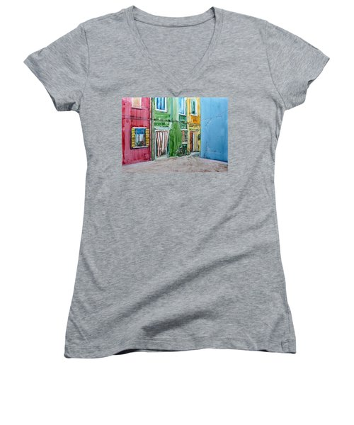 Burano Women's V-Neck T-Shirt (Junior Cut) by Anna Ruzsan