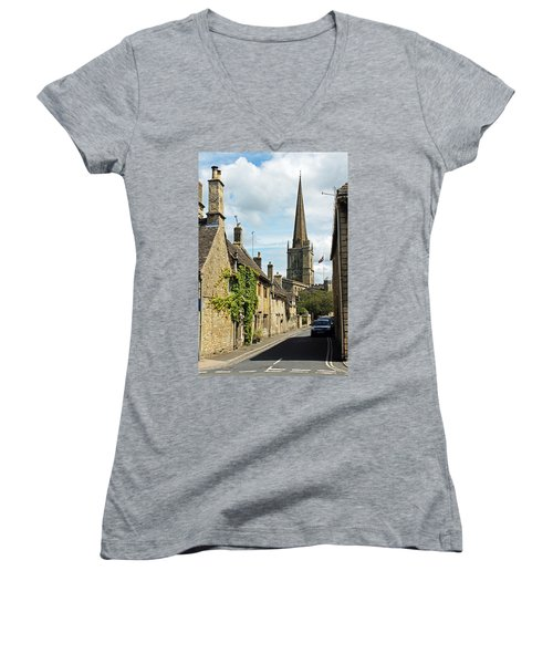 Burford Village Street Women's V-Neck T-Shirt (Junior Cut) by Tony Murtagh