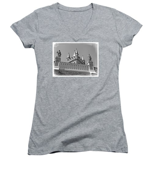 Women's V-Neck T-Shirt (Junior Cut) featuring the photograph Burg Hohenzollern by Carsten Reisinger
