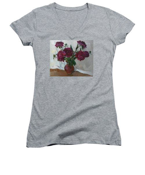 Burgundy Peonies Women's V-Neck T-Shirt
