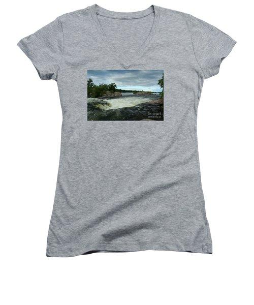 Women's V-Neck T-Shirt (Junior Cut) featuring the photograph Burleigh Falls by Barbara McMahon