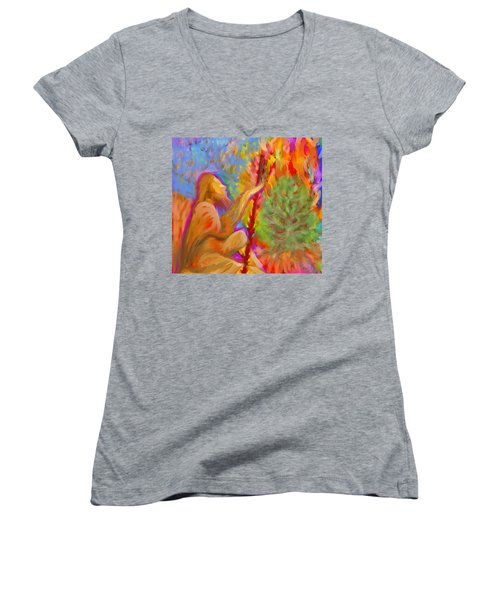 Burning Bush Of Yhwh Women's V-Neck