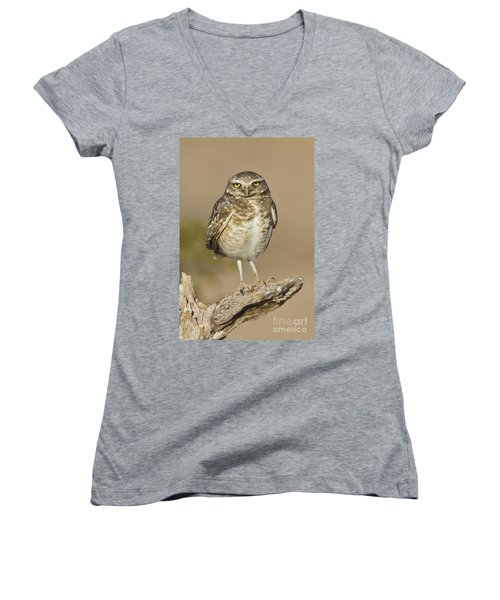 Women's V-Neck T-Shirt (Junior Cut) featuring the photograph Burrowing Owl by Bryan Keil