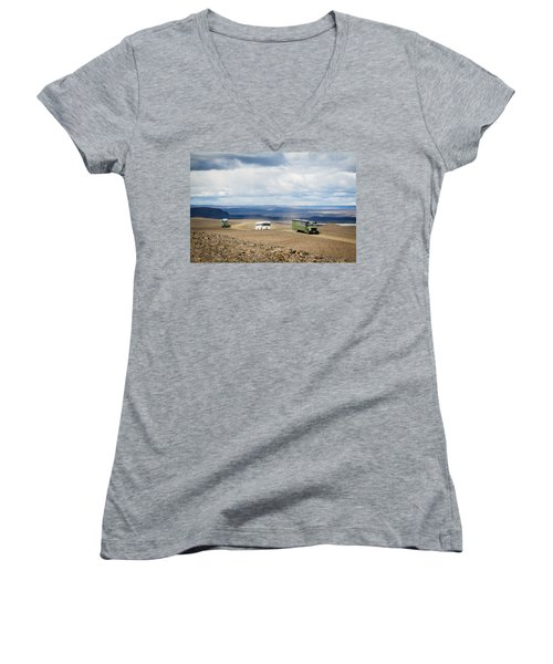 Women's V-Neck T-Shirt (Junior Cut) featuring the photograph Buses Of Landmannalaugar by Peta Thames