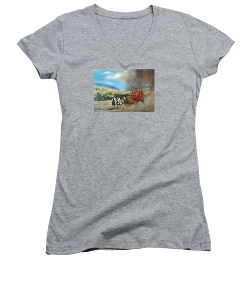 Women's V-Neck T-Shirt (Junior Cut) featuring the painting Business As Usual by Donna Tucker