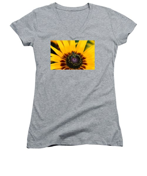 Women's V-Neck T-Shirt (Junior Cut) featuring the photograph Busy Bee by Denyse Duhaime