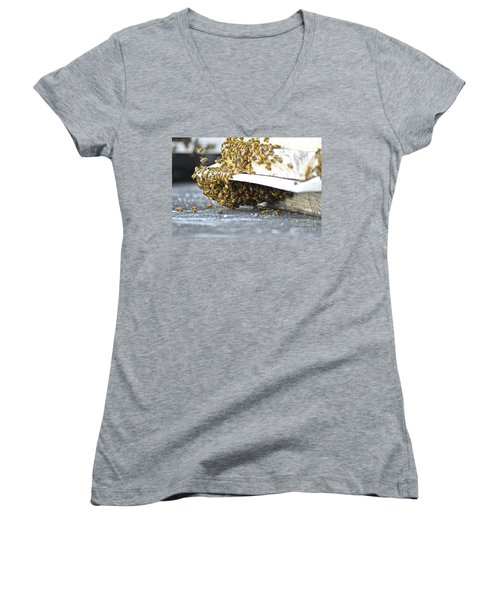 Women's V-Neck T-Shirt (Junior Cut) featuring the painting Busy Bees by Laura Forde
