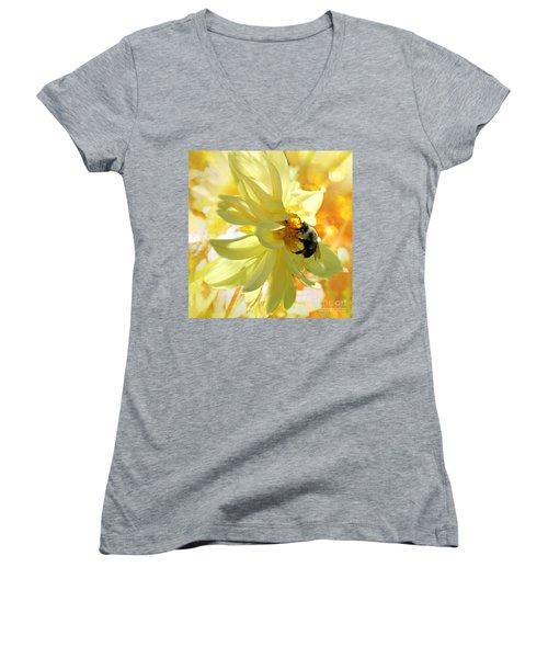 Busy Bumble Bee Women's V-Neck T-Shirt (Junior Cut) by Judy Palkimas