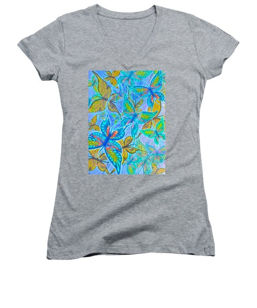 Women's V-Neck T-Shirt (Junior Cut) featuring the mixed media Butterflies On Blue by Teresa Ascone