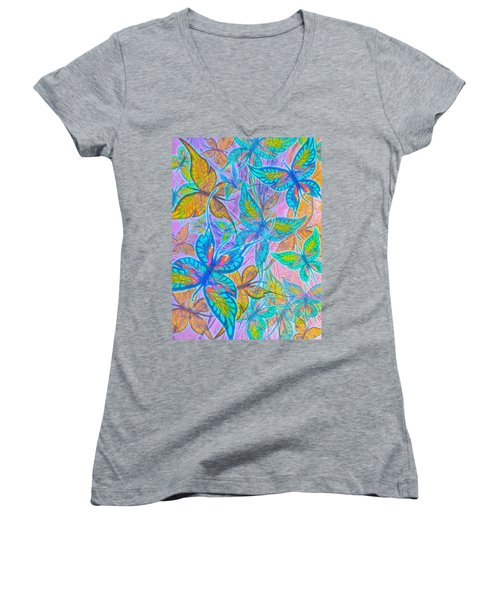 Women's V-Neck T-Shirt (Junior Cut) featuring the mixed media Butterflies On Lilac by Teresa Ascone