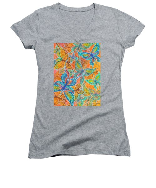 Women's V-Neck T-Shirt (Junior Cut) featuring the painting Butterflies On Tangerine by Teresa Ascone