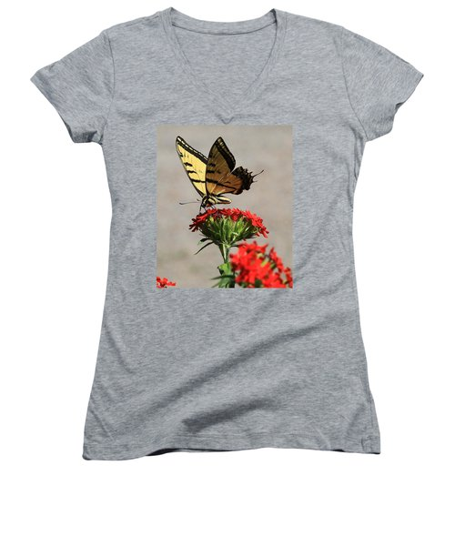 Women's V-Neck T-Shirt (Junior Cut) featuring the photograph Butterfly And Maltese Cross 1 by Aaron Aldrich