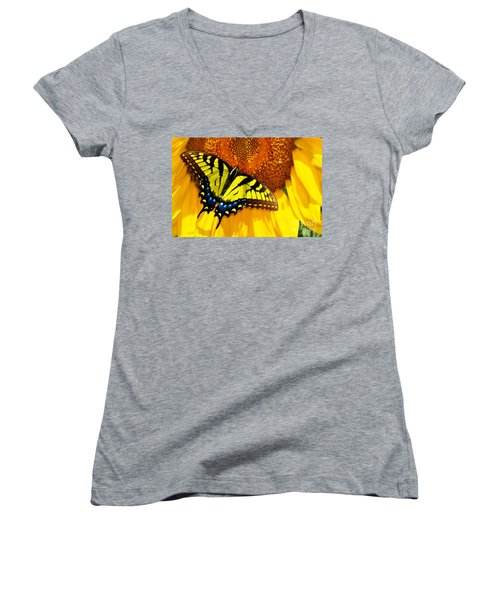 Butterfly And The Sunflower Women's V-Neck (Athletic Fit)