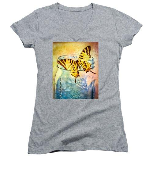 Butterfly Blue Glass Jar Women's V-Neck T-Shirt (Junior Cut) by Bob Orsillo