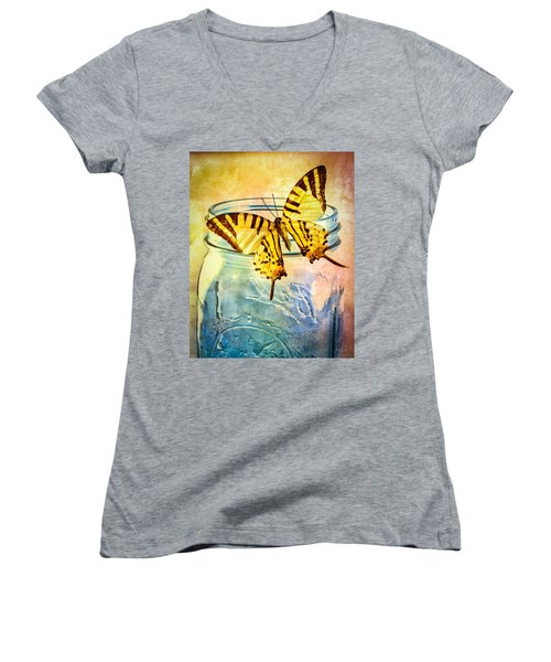 Butterfly Blue Glass Jar Women's V-Neck T-Shirt