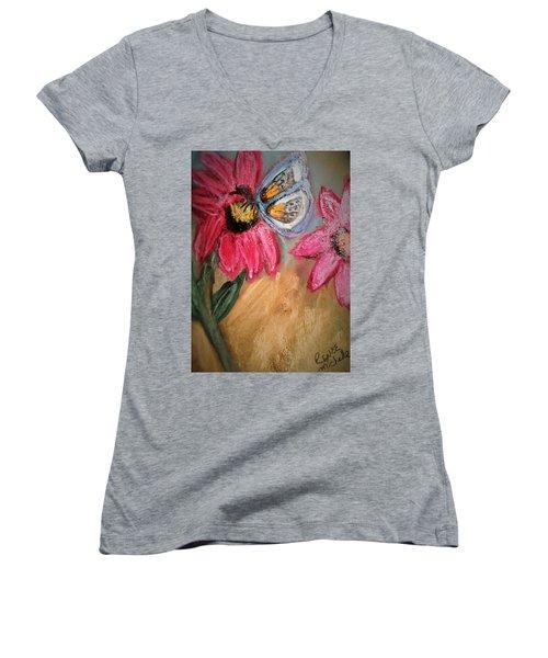 Butterfly Breakfast Women's V-Neck T-Shirt (Junior Cut) by Renee Michelle Wenker